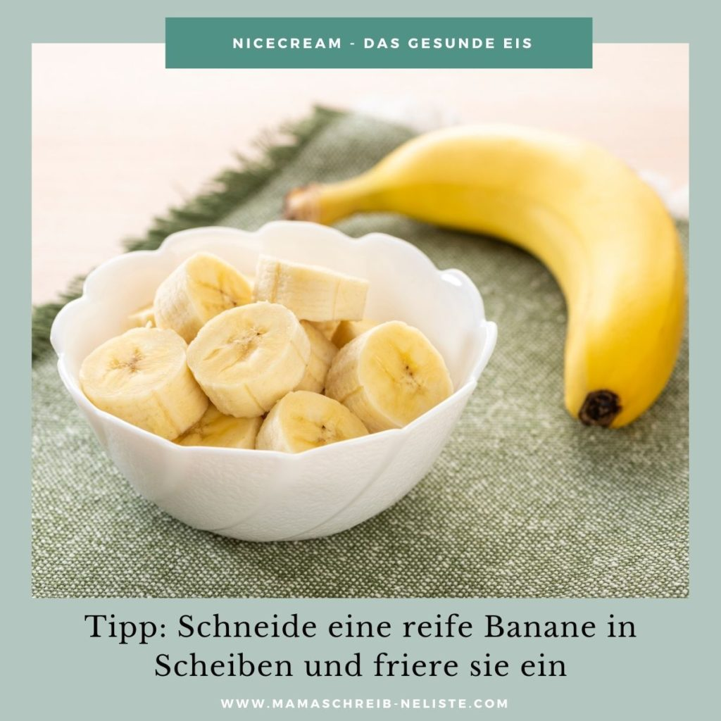 Profi-Tipp: Friere deine braunen Bananen ein, vor der Nicecream Zubereitung kannst du sie wie eine Karotte schälen. So ist dein Eis noch kälter und cremiger.