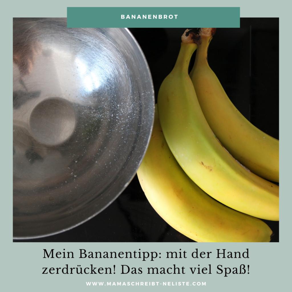 Bananenbrot Rezept ohne mixer für kinder ganz einfach und schnell Bananen einfach mit der Hand zerdrücken