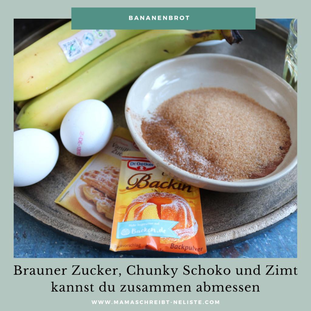 Bananenbrot Rezept ohne mixer für kinder ganz einfach und schnell brauner Zucker Zimt chunky Flavour